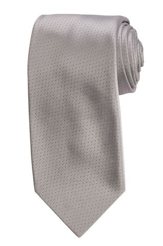 DOLCEPUNTA Italy Hand Made Silver Satin Classic Silk Tie Seven Fold NEW