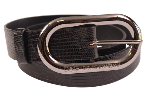 DOLCE & GABBANA Black Leather Snakeskin Printed Belt With Rounded Buckle 80cm/32