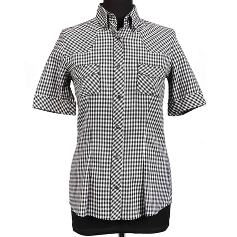 DOLCE & GABBANA Black-White Plaid Cotton-Wool Shirt Top IT 40 NEW US 4