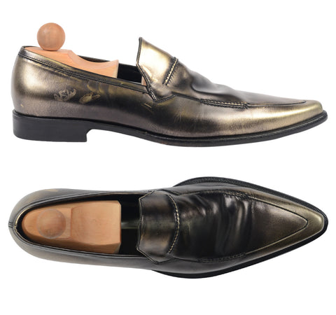 Authentic DOLCE & GABBANA Metallic Patent Leather Slip-on Loafer Shoes NEW