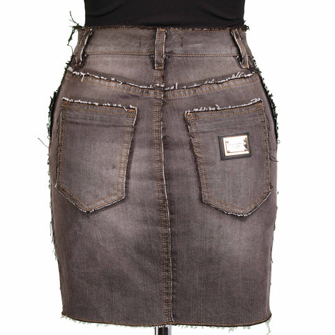 DOLCE & GABBANA ITALY Gray Cotton Denim Jeans Skirt IT 38 NEW US 2