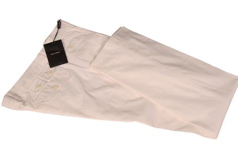 DOLCE & GABBANA ITALY White Cotton-Silk Pants EU 48 NEW US 32