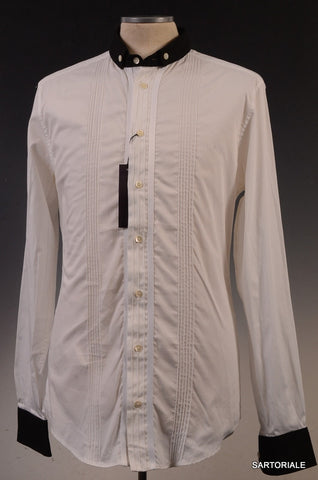 DOLCE & GABBANA White Striped Cotton Button Down Dress Shirt US S / EU 48 D&G - SARTORIALE - 1
