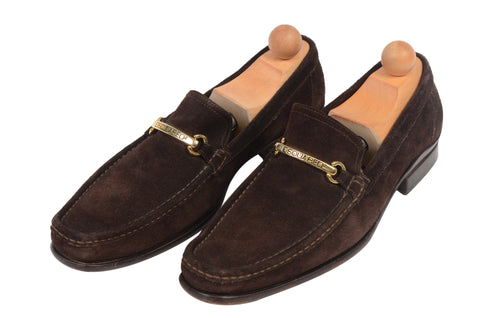 DSQUARED2 Brown Suede Leather BUCKLE Loafer Shoes EU 42 US 9