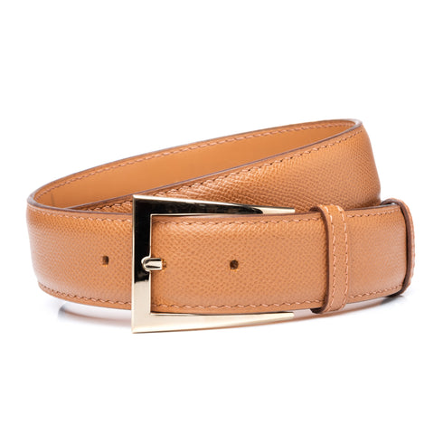 "DURET Paris Handmade Brown Grained Calf Leather Belt with Delta Buckle 34"" 85cm"