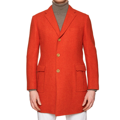 D'AVENZA Handmade Orange Wool Tweed Unlined Coat EU 48 NEW US S