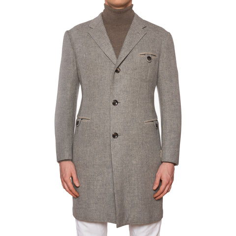 D'AVENZA Roma Handmade Gray Wool Over Coat EU 50 NEW US M