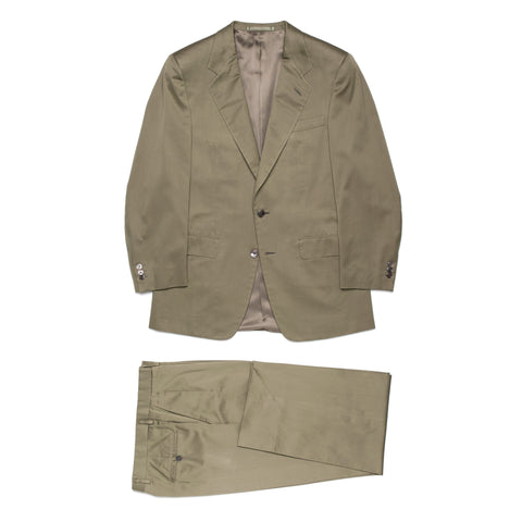 D'AVENZA Roma Handmade Olive Cotton Suit EU 50 NEW US 40