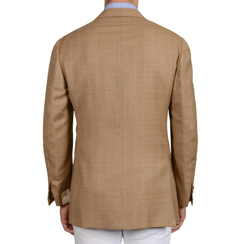 D'AVENZA Herringbone Linen-Silk-Wool Super 120's Jacket EU 52 NEW US 42