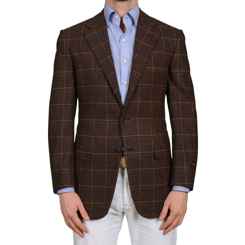 D'AVENZA Brown Cashmere-Wool Super 120's Flannel Jacket EU 50 NEW US 40