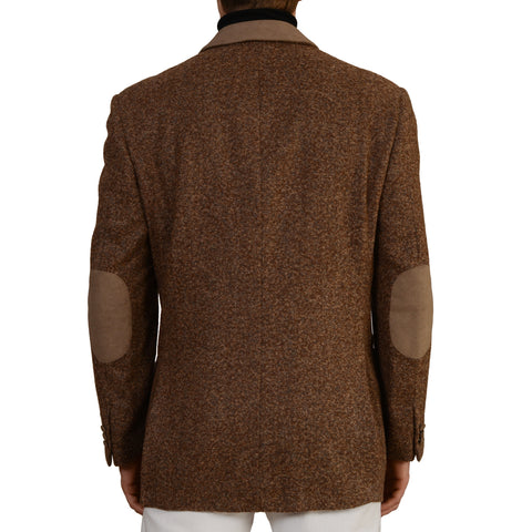 D'AVENZA Brown Wool Alpaca Mohair Tweed Coat with Leather Details EU 50 NEW US M