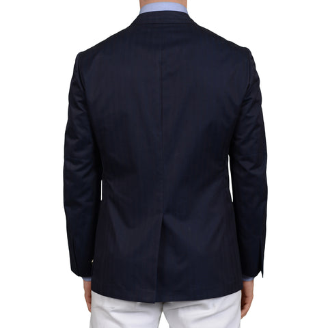 "D'AVENZA ""Cappannina"" Handmade Navy Blue Herringbone Cotton Jacket 50 NEW US 40"