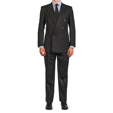 "D'AVENZA For BATTAGLIA ""Susa"" Gray Striped Wool Super 150's DB Suit 52 NEW US 42"