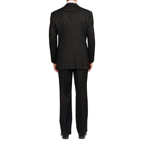 D'AVENZA For BERNINI Handmade Black Striped Wool Suit EU 54 NEW US 44