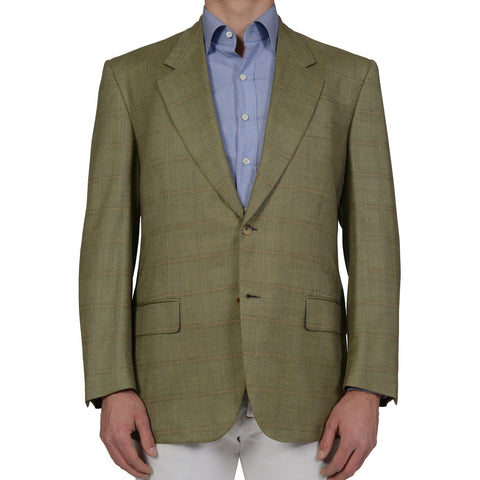D'AVENZA For BATTAGLIA Green Windowpane Wool Blazer Jacket EU 54 NEW US 44 Long