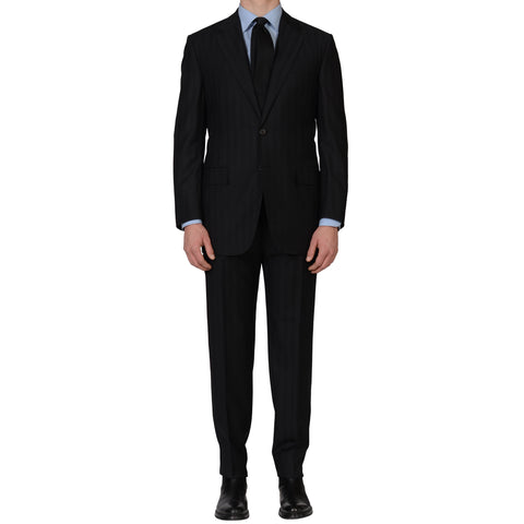 D'AVENZA For DAMIANI Handmade Black Striped Wool DB Suit EU 54 NEW US 44