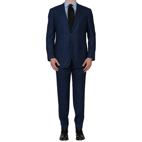 D'AVENZA For DAMIANI Handmade Blue Prince of Wales Wool Silk Suit NEW