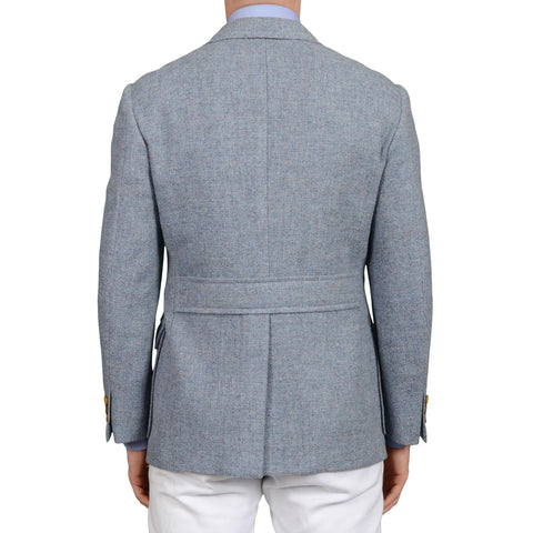 "D'AVENZA ""Forte Jacket"" Blue Wool Tweed Unlined Blazer Jacket EU 48 NEW US 38"