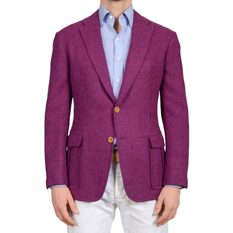 "D'AVENZA ""Forte Jacket"" Handmade Purple Wool Tweed Unlined Blazer Jacket NEW"