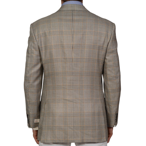 D'AVENZA Handmade Beige Prince of Wales Wool Silk DB Jacket EU 52 NEW US 42