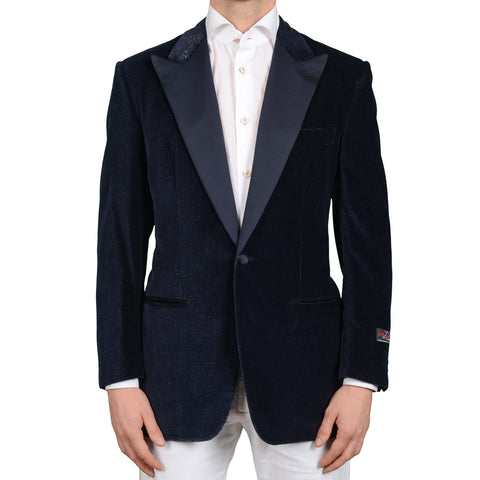 D'AVENZA Handmade Blue Cotton-Modal Corduroy Dinner Formal Jacket 52 NEW 42