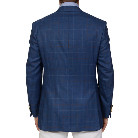 D'AVENZA Handmade Blue Herringbone Plaid Cashmere Blazer Jacket EU 48 NEW US 38
