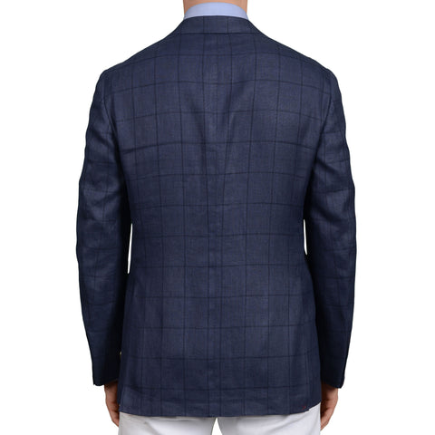 D'AVENZA Roma Handmade Blue Plaid Linen-Wool Jacket Sport Coat EU 50 NEW US 40