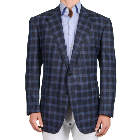 D'AVENZA Roma Blue Plaid Wool-Cashmere Jacket with Silk Lining EU 62 NEW US 52