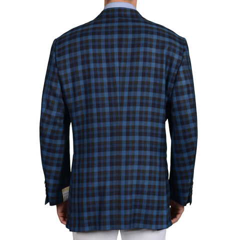 D'AVENZA Handmade Blue Plaid Wool-Cashmere Jacket with Silk Lining 62 NEW US 52