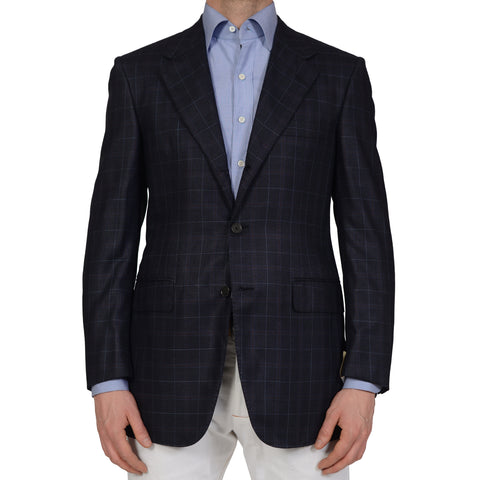 D'AVENZA Handmade Blue Wool Super 100's-Silk Blazer Jacket EU 48 NEW US 38