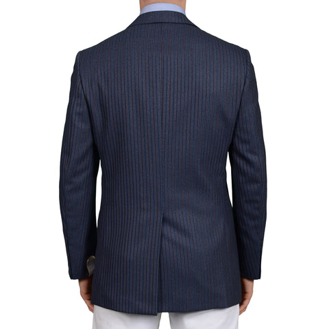 D'AVENZA Roma Handmade Blue Striped Wool Jacket Sport Coat EU 50 NEW US 40