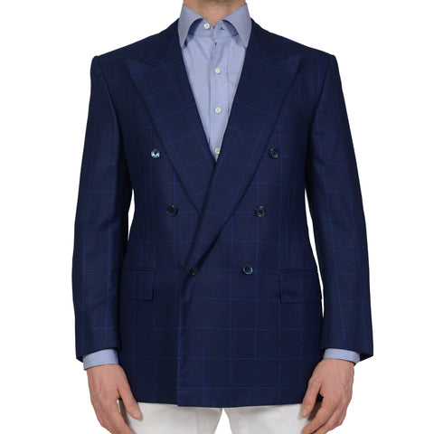 D'AVENZA Handmade Blue Windowpane Wool Super 120's Silk DB Jacket 52 NEW US 42