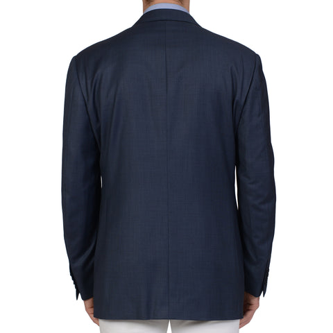 D'AVENZA Handmade Blue Wool DB Blazer Jacket EU 54 NEW US 44 Long