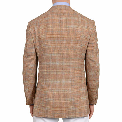 D'AVENZA Roma Handmade Brown Plaid Lambswool-Cashmere Jacket EU 50 NEW US 40