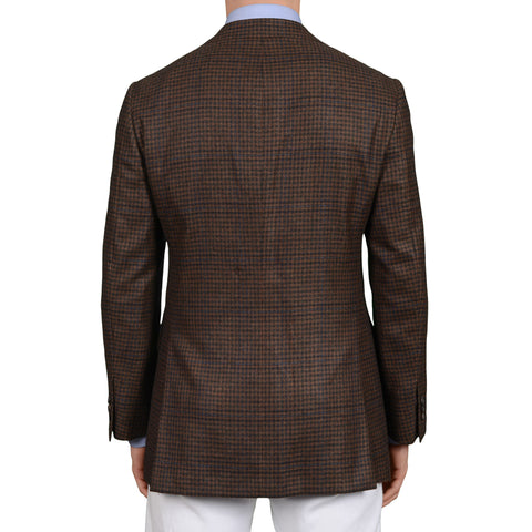D'AVENZA Roma Handmade Brown Plaid Cashmere Jacket Sport Coat EU 48 NEW US 38