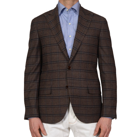 "D'AVENZA ""YOUNG"" Brown Plaid Wool Peak Lapel Blazer Jacket EU 50 NEW US 40"