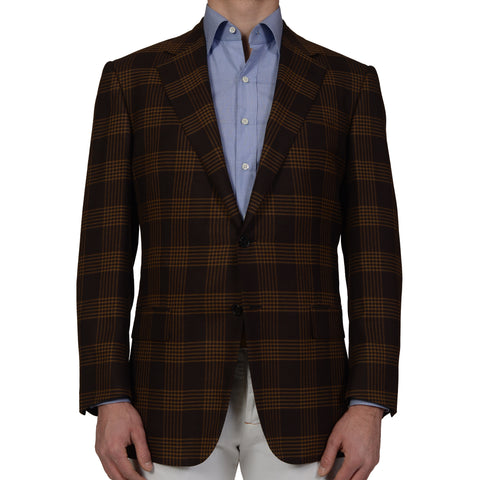 D'AVENZA Handmade Brown Plaid Wool-Silk Blazer Jacket with Silk Lining NEW