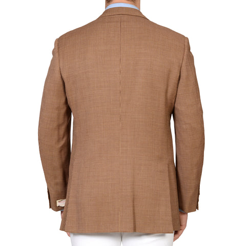 D'AVENZA Handmade Brown Shepherd Check Wool Silk Blazer Jacket EU 52 NEW US 42