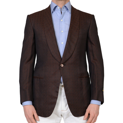 D'AVENZA Handmade Brown Silk 1 Button Shawl Collar Jacket EU 50 NEW US 40