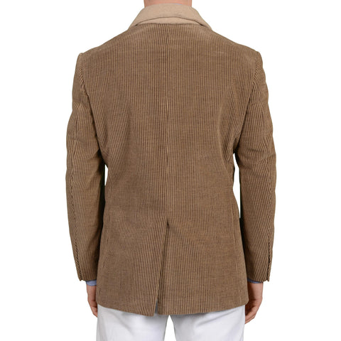 D'AVENZA Brown Cotton-Cashmere Corduroy Shawl Collar 4 Button Jacket 50 NEW 40
