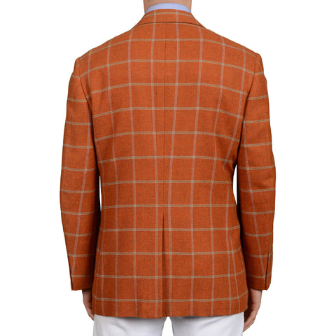 D'AVENZA Handmade Burnt Orange Plaid Wool-Cashmere Jacket EU 50 NEW US 40