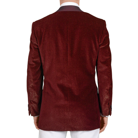 D'AVENZA Handmade Burgundy Dinner Shawl Collar Formal Jacket 50 NEW US 40 Tuxedo