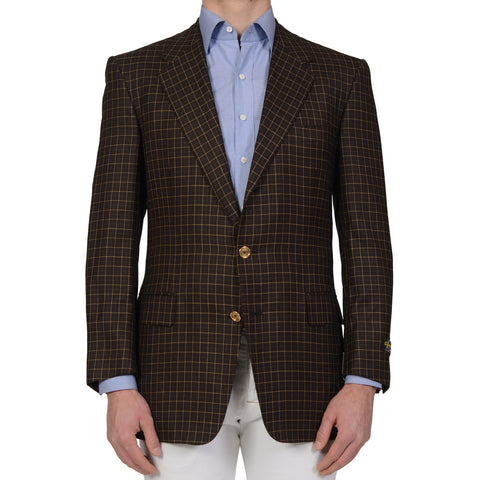 D'AVENZA Handmade Dark Brown Plaid Wool Blazer Jacket EU 52 NEW US 42