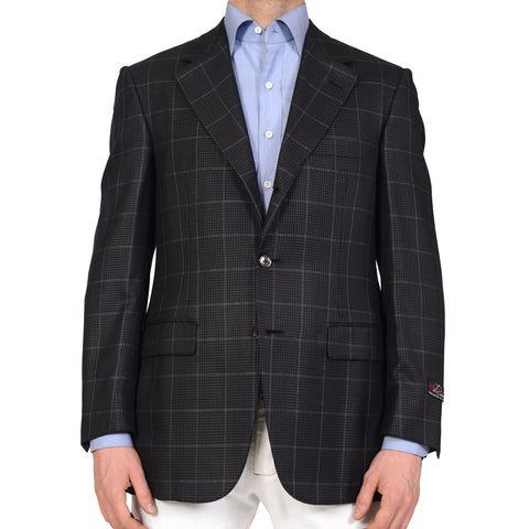 D'AVENZA Handmade Dark Gray Houndstooth Windowpane Wool Silk Jacket NEW