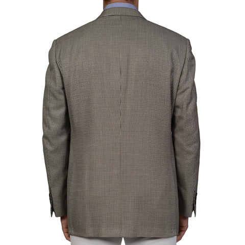 D'AVENZA Handmade Gray Houndstooth Wool Silk Cashmere Jacket EU 56 NEW US 46