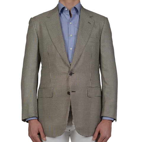 D'AVENZA Handmade Gray Houndstooth Wool Super 120's Silk Jacket NEW