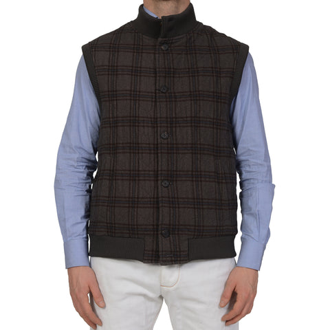 D'AVENZA Handmade Gray Plaid Cashmere Ribbed Vest EU 50 NEW US 40
