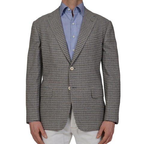 D'AVENZA Handmade Gray Plaid Wool Cashmere Unlined Blazer Jacket EU 50 NEW US 40