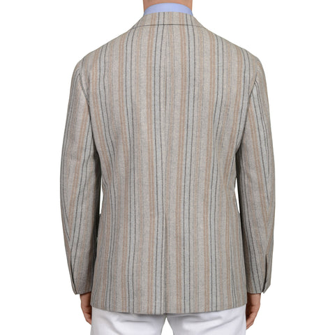 D'AVENZA Handmade Gray Striped Wool-Cashmere Unlined Jacket EU 50 NEW US 40