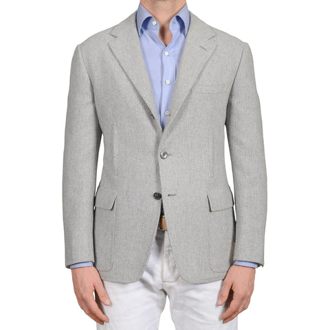 D'AVENZA Handmade Gray Wool Cashmere Unlined Blazer Jacket 50 NEW US 40